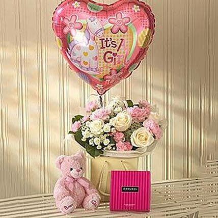 Pink Lullaby Balloon Teddy and Chocolates Gift Set: Flowers and Teddy Delivery in UK