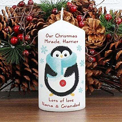 Personalized Felt Stitch Penguin Candle: Personalised Gifts for Husband in UK