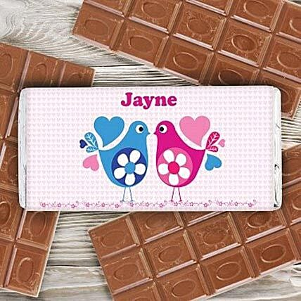 Personalized Love Birds Milk Chocolate Bar: