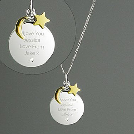 Personalised Moon And Stars Sterling Silver Necklace: Gifts for Wife in UK
