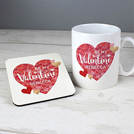 Personalised Valentines Day Confetti Hearts Mug And Coaster Set: Personalised Gifts to UK