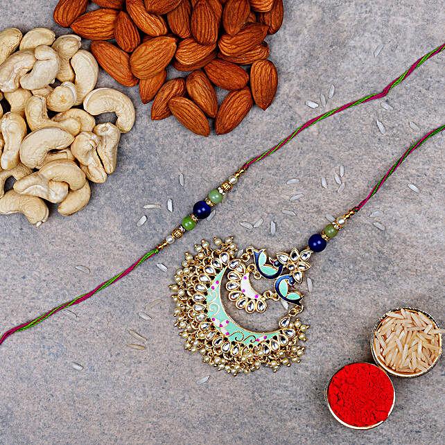 Blue And Golden Meenakari Rakhi And Dry Fruits: Rakhi Delivery in London, UK