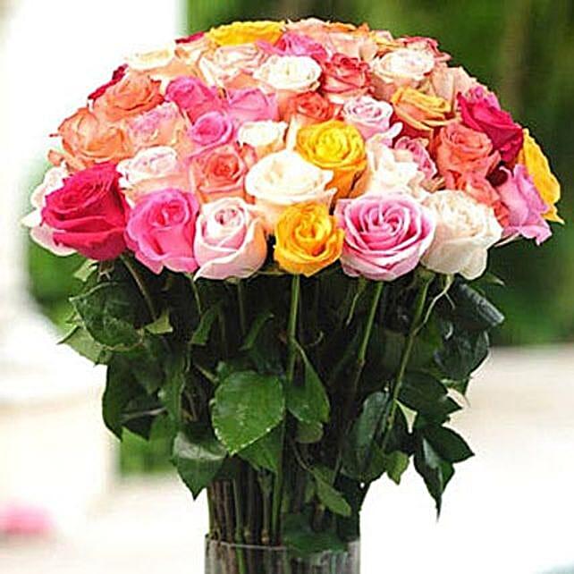 36 Multicolor roses in Vase: Flower Delivery in Boston