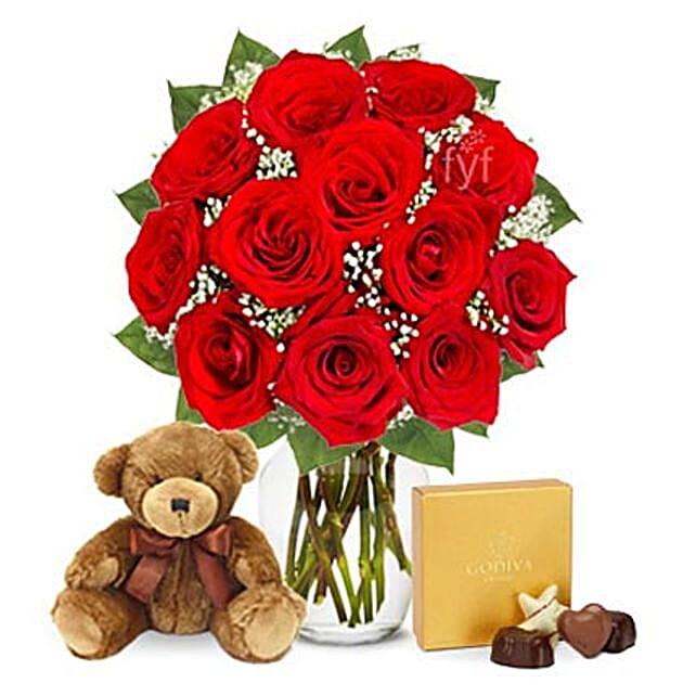 One Dozen Roses with Godiva Chocolates and Bear: Send Roses to USA