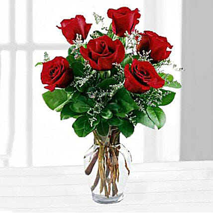 Six Red Roses In A Vase: Send Gifts To USA with Same Day Delivery