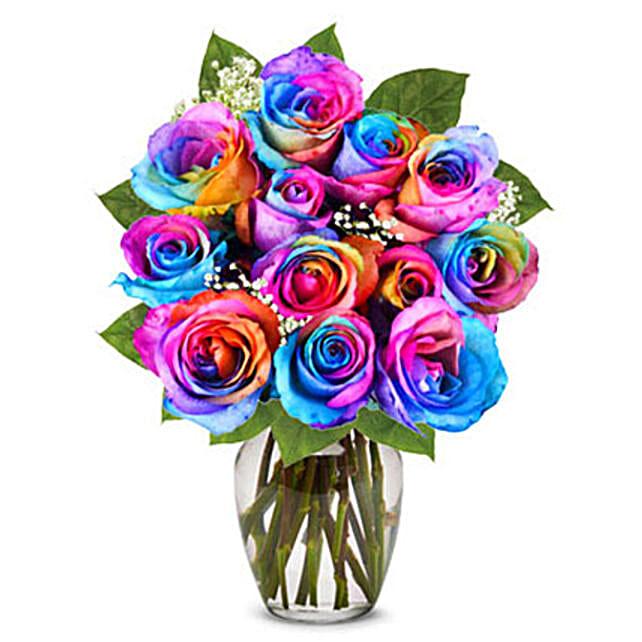 Two Dozen Wild Rainbow Roses: Roses