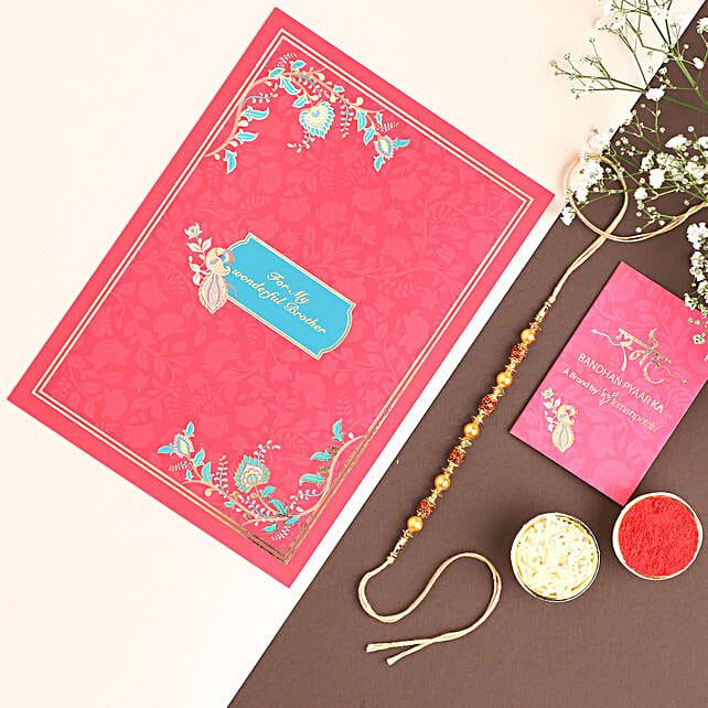 Golden Red Pearl Thread Rakhi: Rakhi Delivery in USA