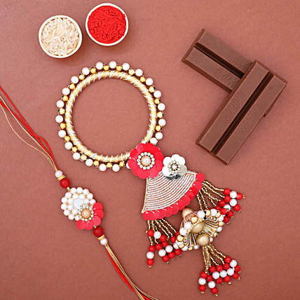 Pearl Lumba Rakhi Set N KitKat Chocolates: Rakhi Delivery in USA