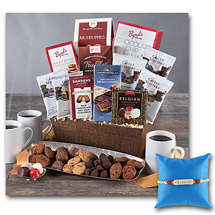 Coffee And Chocolates Gift Basket With Rakhi: Rakhi Delivery in USA