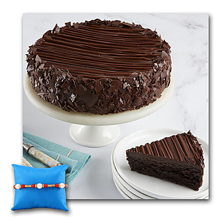 Triple Chocolate Enrobed Brownie Cake With Rakhi: Rakhi Delivery in USA