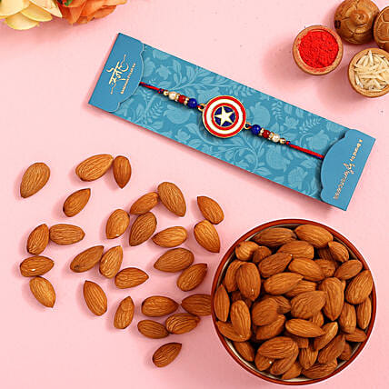 Captain America Kids Rakhi And Healthy Almonds: Rakhi Delivery in USA
