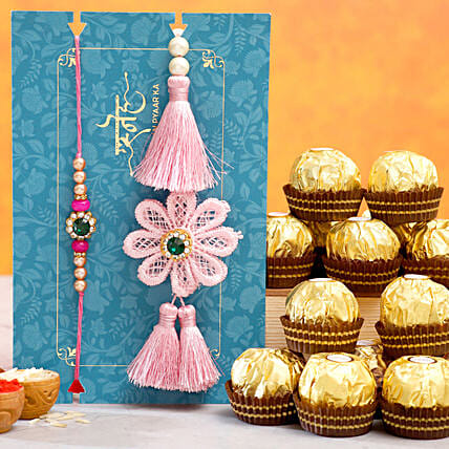 Crochet Flower Lumba Rakhi Set With 12 Pcs Ferrero Rocher: Rakhi Delivery in USA