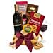 The Classy Basket Of Red Wine And Snacks