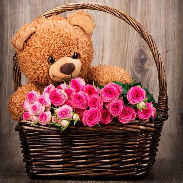 karva chauth flower with teddy bear