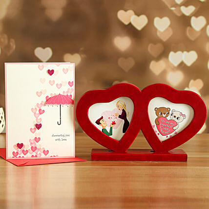 Couple Heart Photo Frame And Love Card:Send Valentines Day Gifts to Argentina