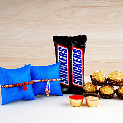2 Designer Rakhis N Snickers With Rocher