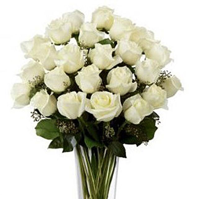 2 Dozen White Roses:Sympathy N Funeral Flowers to Australia
