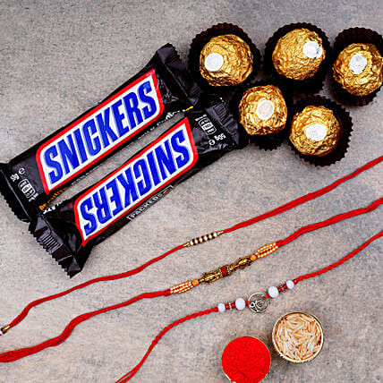 3 Designer Rakhis N Snickers With Rocher