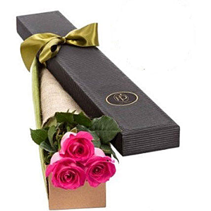3 Pink Roses in Gift Box:Send Gifts for Her in Australia