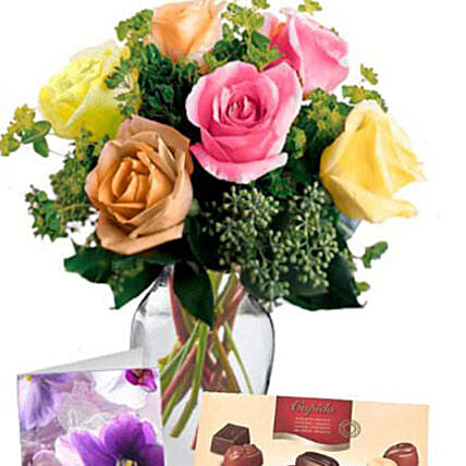6 Mixed Roses Combo:Flower Delivery Australia