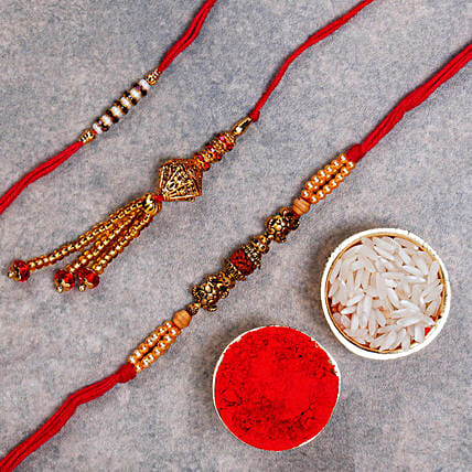 Beaded Rakhi Set Of 3