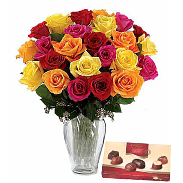 Belgian Chocolates N Mixed Roses:Send Newborn Baby Gifts in Australia