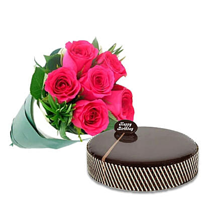 Bouquet Of Pink Roses N Mud Cake:Birthday Cake Delivery in Australia