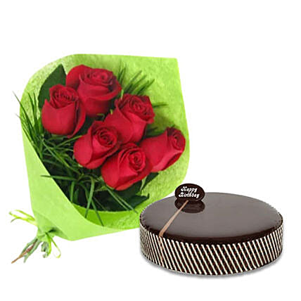 Bouquet Of Red Roses N Mud Cake:Send Birthday Cakes to Australia