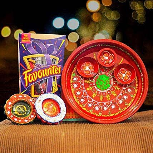 Cadbury Favourites and 2 Diya Set With Puja thali