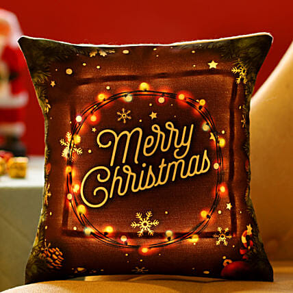 Merry Christmas Printed LED Cushion