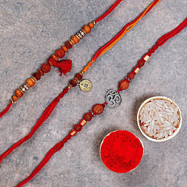 Classy Rakhi Set Of 3:Devotional Rakhi to Australia