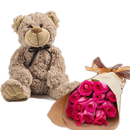 Dark Pink Roses N Teddy:Send Roses to Australia