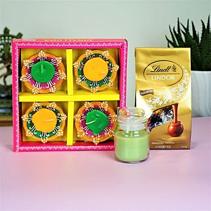 Diwali Diyas With Candle And Chocolates