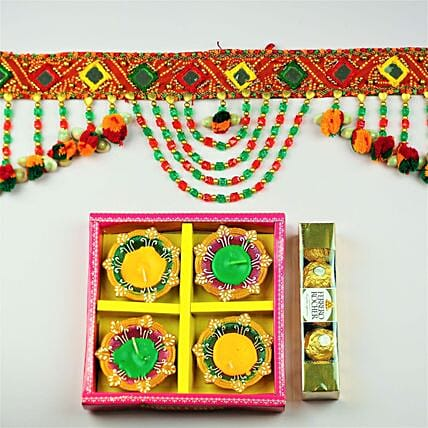 Diwali Toran With Diyas And Chocolates