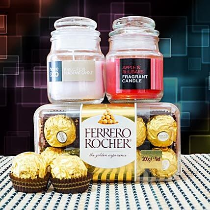 Ferrero Rocher With Fragrant Candles:Diwali Gifts Delivery in Australia