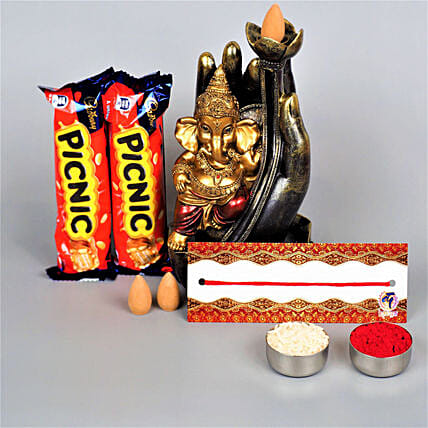 Ganesha Blessing And Delicious Wishes For Bhaidooj:Send Chocolate to Australia