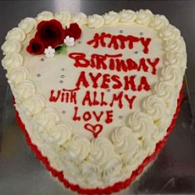 Heart Shaped Vanilla Cake:Birthday Cake Delivery in Australia