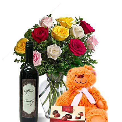Mixed Roses Combo With Wine:Send Valentines Day Flowers to Australia