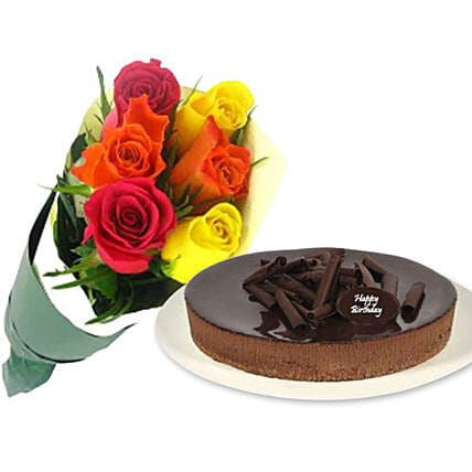 Mixed Roses With Cheese Cake