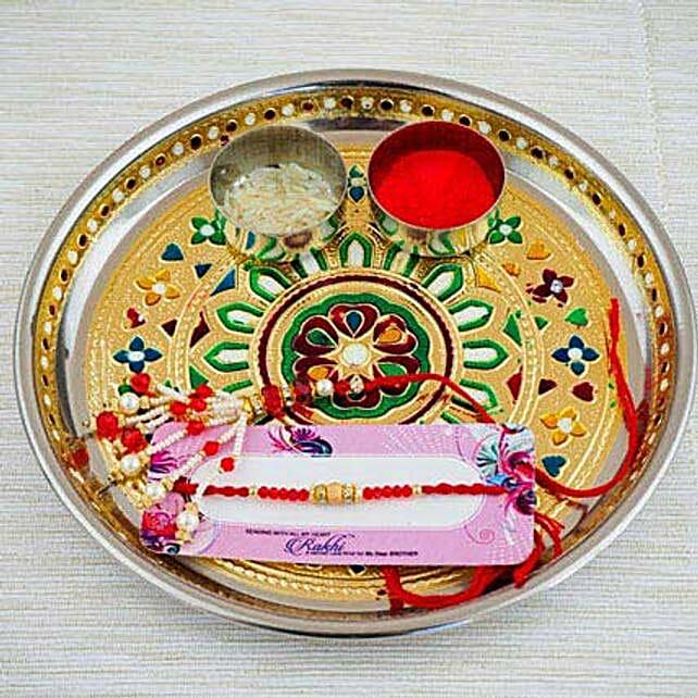 Parivar Two Rakhi Set with Puja Thali