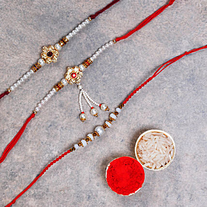 Pearl Rakhi Set Of 3