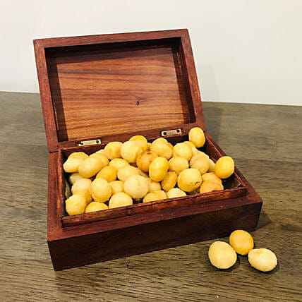 Perfect Salted Macadamia  With Wooden Handmade Carved Box