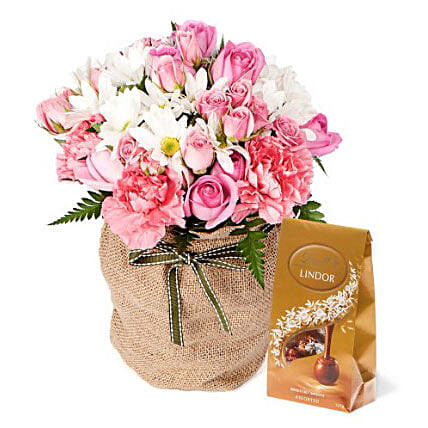 Pink Flowers With Chocolate Box:Send Mixed Flowers To Australia