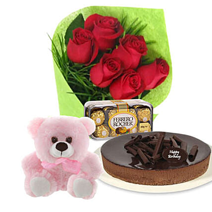 Red Roses Cake N Teddy Combo:Chocolate Cakes