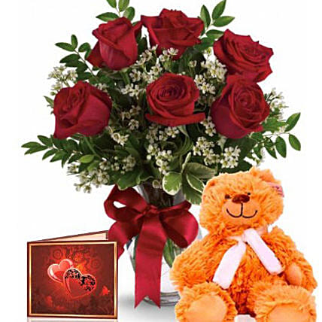 Red Roses N Teddy Bear Combo