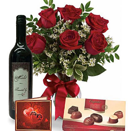 Roses Wine N Chocolate Combo:Send Flowers to Australia