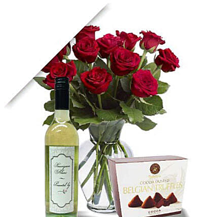 Roses With Wine N Truffle:Flowers and Chocolates Delivery in Australia