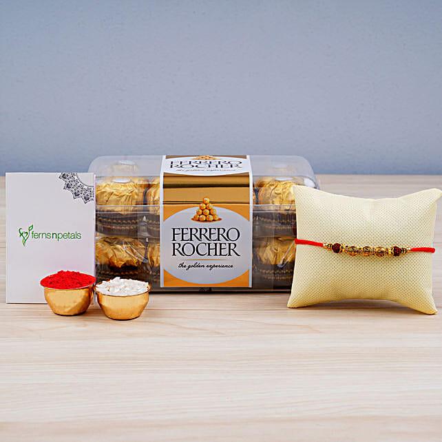 Rudraksha Rakhi N Ferrero Rocher:Rakhi Gifts for Brother in Australia