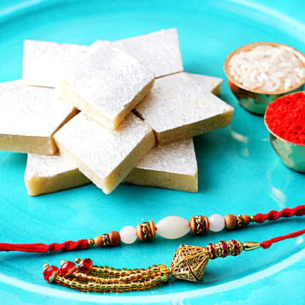 Set Of 2 Rakhis N Kaju Katli:All Rakhi - Australia