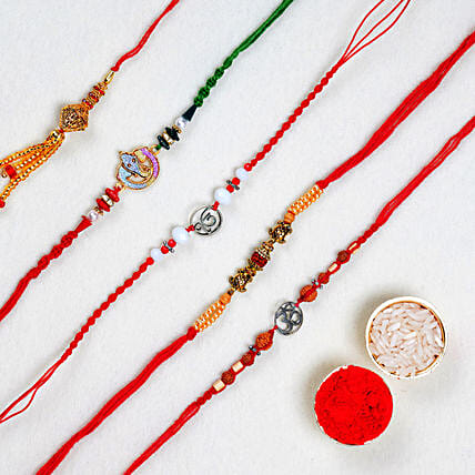 Set Of 5 Designer N Kids Rakhis